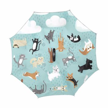 Windproof Reverse Folding Double Layer Inverted Umbrella Cute Dogs Umbrellas Self Stand rain/sun women/men