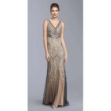 Black V-Neck and Back Mermaid Evening Gown