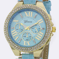 Roman Numeral Crystal Bezel Fashion Watch - Light Blue Croc