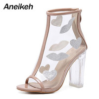 Sexy PVC Transparent Bling Gladiator Sandals Peep Toe Zip Shoes Clear Chunky heels Pumps 11CM Sandals Mujer Women Boots size 41