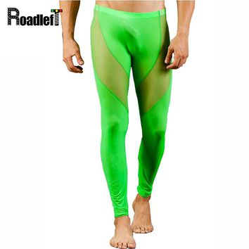 Male Thin Elastic Thermal Underwear Men Transparent Mesh Sexy Long Johns Mens Clothing Tights Compression Legging Underpants