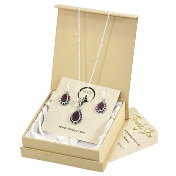 Aurora Raw Ruby Necklace and Earrings Set in Sterling Silver
