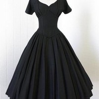 Sisjuly Hot Vintage Dress A Line Black Women Party Dress Retro 1950s Rockabilly Pin Up Dresses Sashes Grace Short Sleeve Dresses