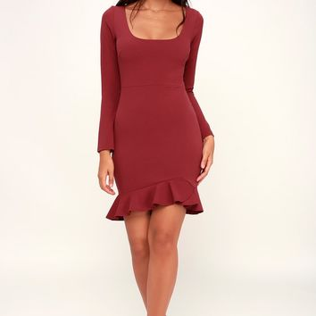 Margot Rust Red Ruffled Long Sleeve Dress