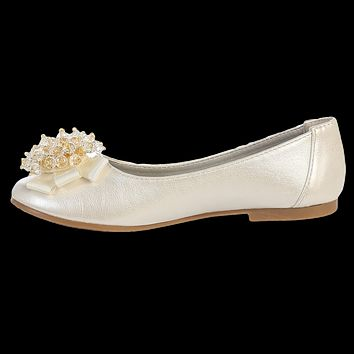 Ivory Dress Shoes with a Crystal Cluster & Bow on the Toe (Toddler & Girls Sizes)