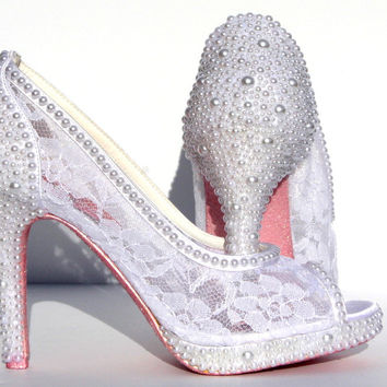 White Wedding Stiletto with Lace & Pearls