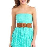 lace strapless belted tiered dress - 400003716999 - debshops.com