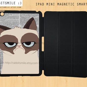 Grumpy Cat iPad Mini Case, Cat iPad mini retina case, Cute iPad Mini Smart Cover, iPad Mini Smart Case, Personalized iPad Mini Cover