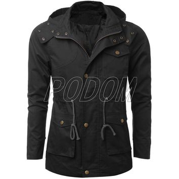 Men's Military Style Long Hoodie Jacket Coat Trench Men Casual Outwear Hooded Fashion