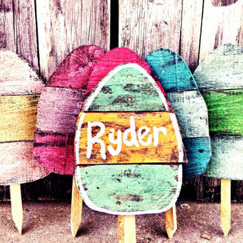 Easter Decoration, Easter Kids, Easter Yard art, personalized eggs, Rustic easter decor, Rustic egg decor, Yard stake, Personalized Easter
