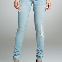 Royal Blue Light Destructed Skinny Jean