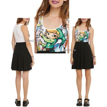 Licensed cool Legend of Zelda The Wind Waker LINK Stained Glass Skater Dress Juniors XS-M NEW