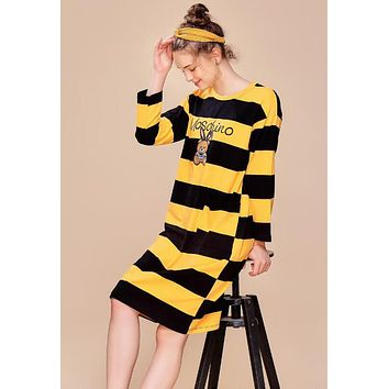 MOSCHINO New Popular Women Loose Cute Embroidery Cartoon Bear Print Long Sleeve Round Collar Yellow Stripe Nightgown Skirt Dress I13427-1