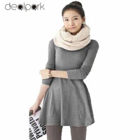 Fashion Europe and America Elegant Ladies Basic Dresses Korean Novelty Cotton Women Solid Color Long Sleeve Mini Dress