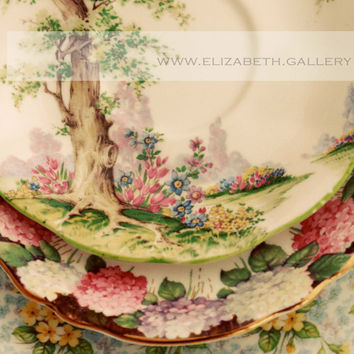 Pretty Plates Photography Vintage Tea Cup Saucers Print 8x10 Wall Print - Kitchen Art