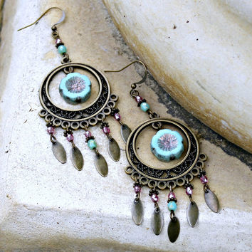 Long Bohemian Chandelier Earrings - Turquoise Blue, Pink, Antique Brass, Czech Glass