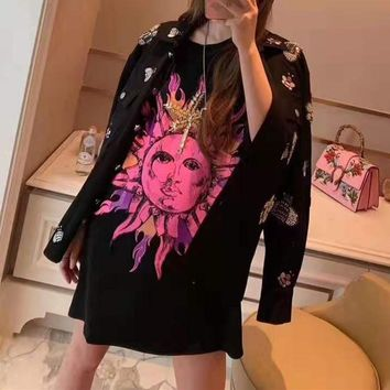 """Versace""Woman's Leisure  Fashion Letter Bead personality Printing Loose  Short Sleeve Tops"