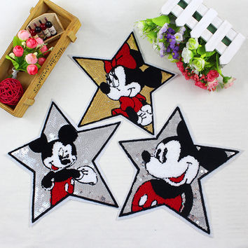 1pc 24 * 24 cm large size pentagram mickey Embroidered Iron On Patches Clothes Sequins Patch POP DIY Hotfix Motif Applique