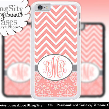 Monogram Coral Peach White Chevrons iPhone 6 Case 5C 6 Plus 5s 4 Ipod Damask Vintage European Pattern Stripes Zig Zag Personalized Custom
