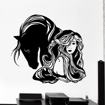 Wall Vinyl Decal Girl And Horse Romantic Love Home Interior Decor Unique Gift z4123