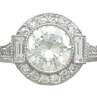 1.82 ct Diamond and Platinum Halo Ring - Antique and Contemporary