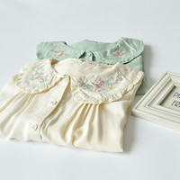 Floral frill doll collar cotton blouse mori style shirt women free shipping from HIMI'Store