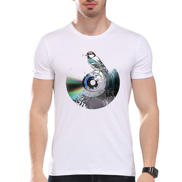 Men's Bird on Record Music Print T-Shirt  Men Summer Modal Hipster Tees