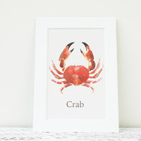 Kitchen Decor, Crab Kitchen Watercolor Print, Seafood Print, Crustacean Watercolor Art, Kitchen Art, Gifts for Cooks, Matted Print