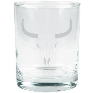DCCKU3R Bull Cow Steer Skull Southwestern Etched Glass Tumbler