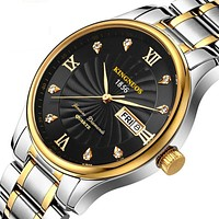 KINGNUOS Stainless Steel Gold Quartz Watch for Men