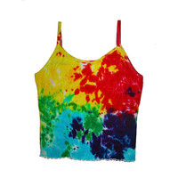 Ladies Spaghetti Tank Top with Thin Straps Tie Dyed Rainbow Pattern Cotton Knit Women's Tank Top