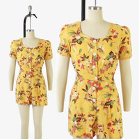 Vintage 40s ROMPER PLAYSUIT / 30s- 1940s Novelty Hawaiian Print Cotton Shorts One Piece S