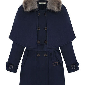 Blue Long Sleeve Belted Woolen Cape Coat with Detachable Fur Collar
