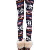 Ninimour- Warm Snow Flake Knitted Tights Christmas Leggings (Multi)