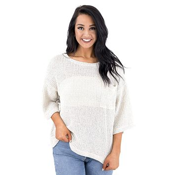 Women's Round Neck Sweater with Front Pocket