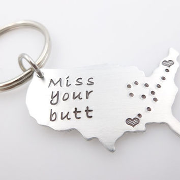 Map gift, USA long distance relationship, Miss your Butt, Funny gift for boyfriend or husband, living apart, going away gift, best friends