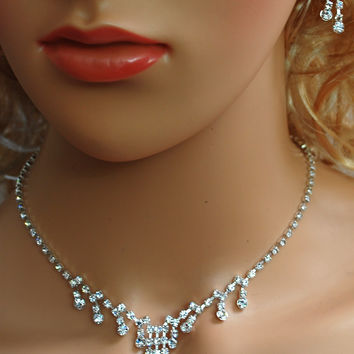"""SC Bridal Prom Wedding Pageant Necklace and Earring Set, 18"""" with Adjustable Chain N1Y25"""