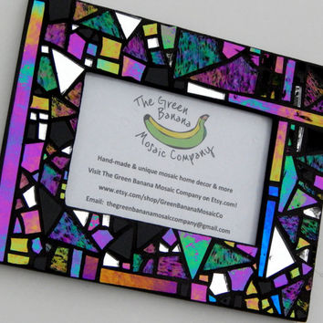 "Mosaic Picture Frame, 4"" x 6"" Picture Size, Black+Iridescent+Textured Glass, Handmade Stained Glass Mosaic Design"