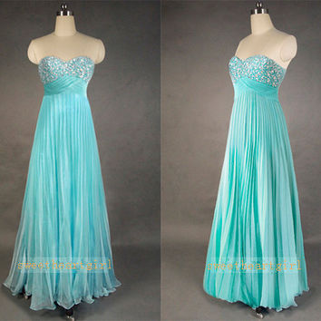 Blue Sweetheart Strapless Pleated Prom Dress