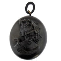 Victorian Locket made from Vulcanite with a Bacchante Cameo