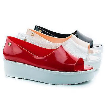 Rosario Clear Glitter Pvc By Nature Breeze, Jelly Peep Toe Flatform Fashion Casual Slip On Shoe for