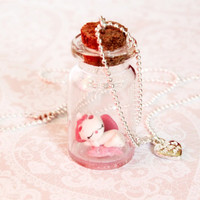 Necklace with Miniature bottle of sweet Minou from Aristocats.