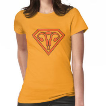 'Uterus Hero Orange' T-Shirt by dylangould