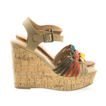 Music Natural By Soda, Cork Platform Wedge Fisherman Woven Sandal, Women Open Toe Shoes