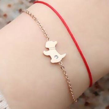 ac NOVQ2A 18K rose gold puppy red rope bracelet female version of the Lunar New Year dog wild personality titanium steel hand rope gift