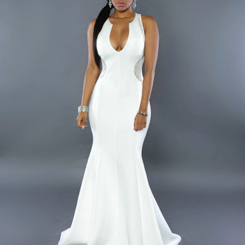 White Plunging Sleeveless Evening Gown