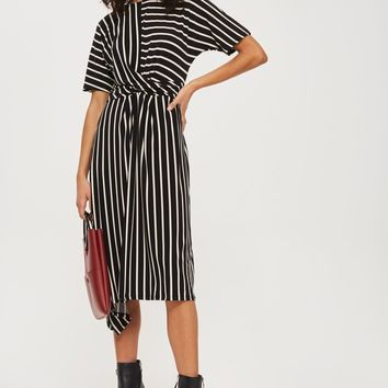 Striped Drape Midi Dress | Topshop
