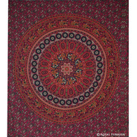 Red Mandala Hippie College Medallion Tapestry Wall Hanging Bedspread