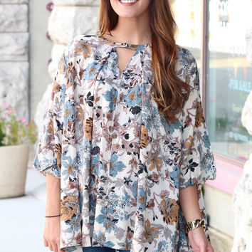 Where the Wild Flowers Grow Keyhole Blouse {Sage Mix}
