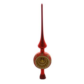 Inge Glas FLOWER REFLECTIONS RED SHINY Glass Finial Tree Topper 20685R022